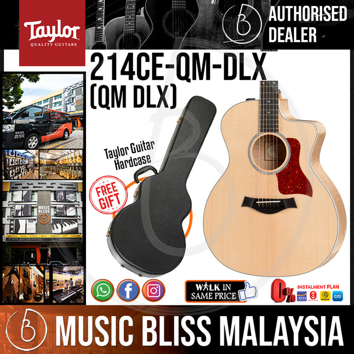 Taylor 214ce-QM DLX - Quilted Maple back and sides with Hardcase (214ceQM DLX / 214ce QM DLX) *Crazy Sales Promotion* - Music Bliss Malaysia