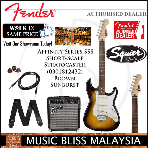 Fender Squier Affinity Series SSS Short-Scale Stratocaster Guitar Pack w/Frontman 10G Amp (Brown Sunburst)