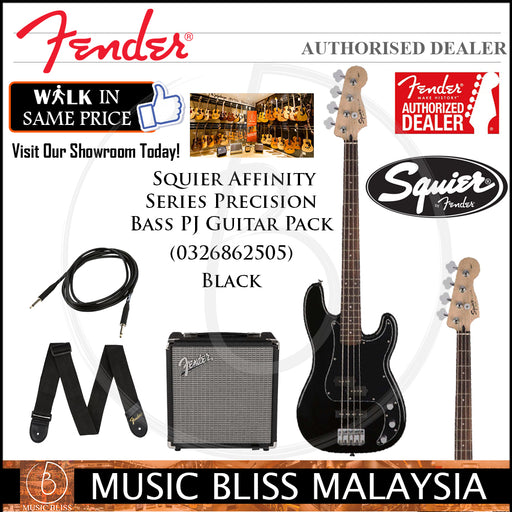 Fender Squier Affinity Series Precision Bass PJ Guitar Pack w/Rumble 15 Amplifier (Black)