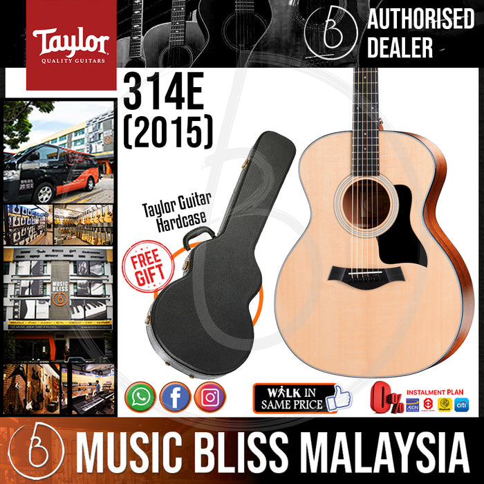 Taylor 314e Grand Auditorium Acoustic-Electric Guitar with Hardcase (314-e / 314 e) *Crazy Sales Promotion* - Music Bliss Malaysia
