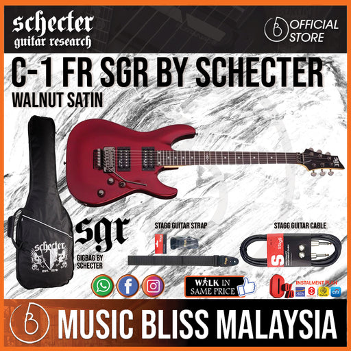 Schecter SGR C-1 with Floyd Rose - Walnut Satin (C1) - Music Bliss Malaysia