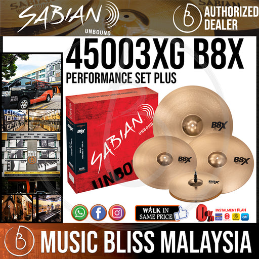 Sabian 45003XG B8X Performance Set Plus w/14in Hi-Hats, 16in Crash, 20in Ride, FREE 18in Crash *Crazy Sales Promotion*
