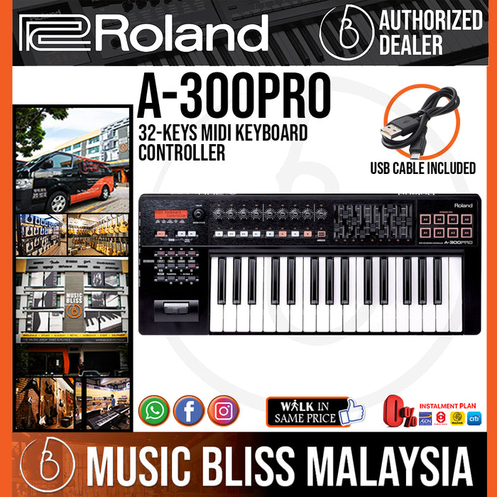 Roland A-300 PRO 32-Keys MIDI Keyboard Controller with FREE Shipping (A300 PRO A300PRO) - Music Bliss Malaysia