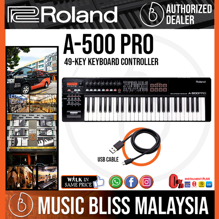 Roland A-500PRO 49-Keys MIDI Keyboard Controller with FREE Shipping (A500 PRO A500PRO) - Music Bliss Malaysia