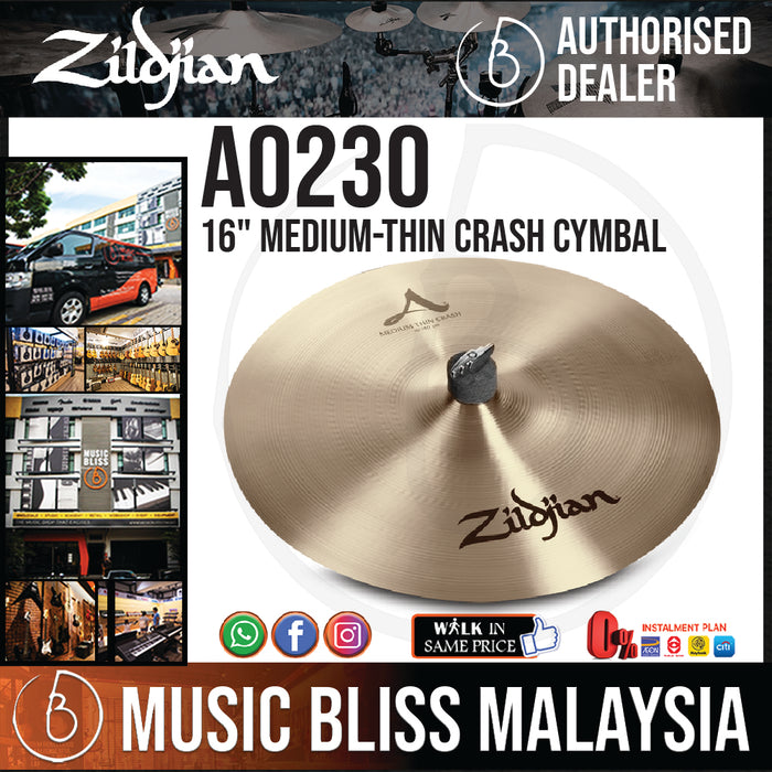 "Zildjian 16"" A Zildjian Medium-thin Crash Cymbal (A0230) - Music Bliss Malaysia"