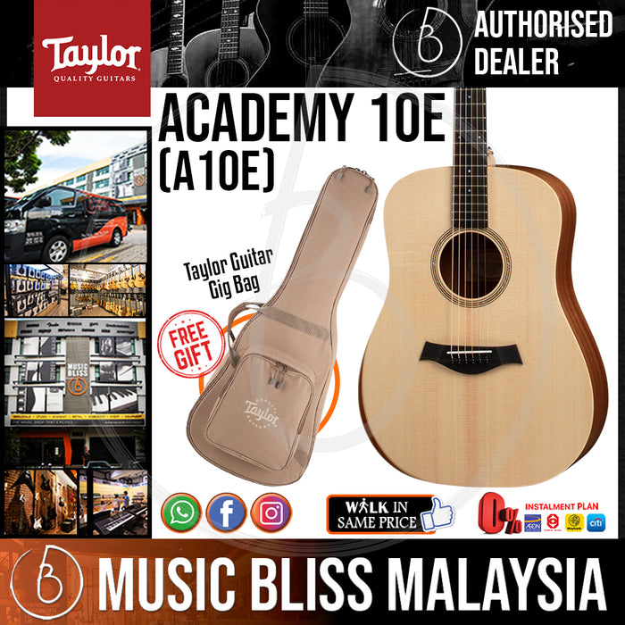 Taylor Academy 10e - Layered Sapele Back and Sides with Bag *Crazy Sales Promotion* - Music Bliss Malaysia
