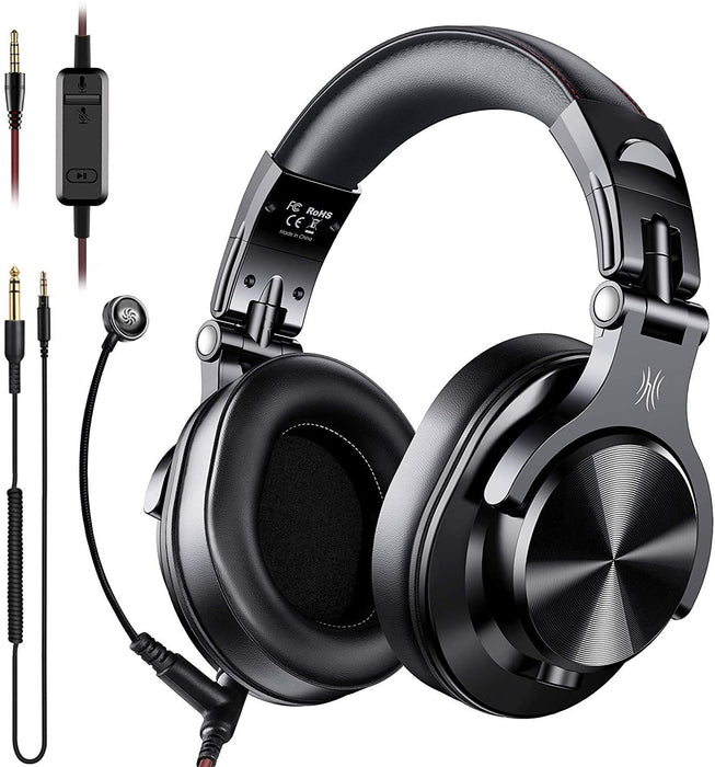 OneOdio A71 Over Ear Headsets with Boom Mic - PS4 Xbox One PC Laptop Wired Stereo Headphones with On-Line Volume & Share-Port Headsets for Gaming Office Phone Call DJ (OneOdio A-71 Over Ear Headset Black) *Crazy Sales Promotion* - Music Bliss Malaysia