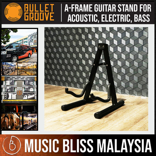 Bullet Groove A Frame Guitar Stand, A-Frame Guitar Stand for Acoustic, Electric, Bass Guitars, Best Budget Durable Guitar A Frame Stand Malaysia - Music Bliss Malaysia