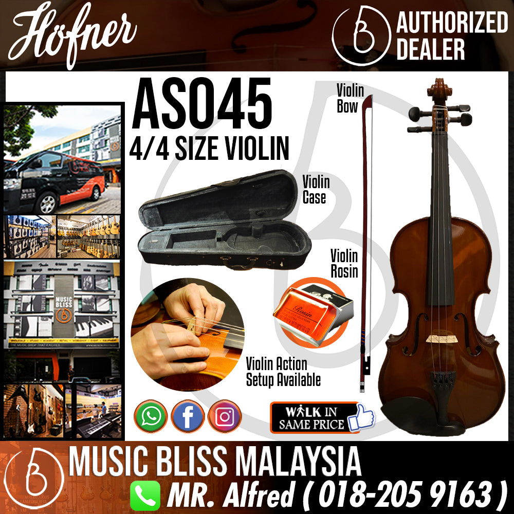 Hofner AS045 4/4 Size Violin with Case for 12+ years old - Music Bliss Malaysia
