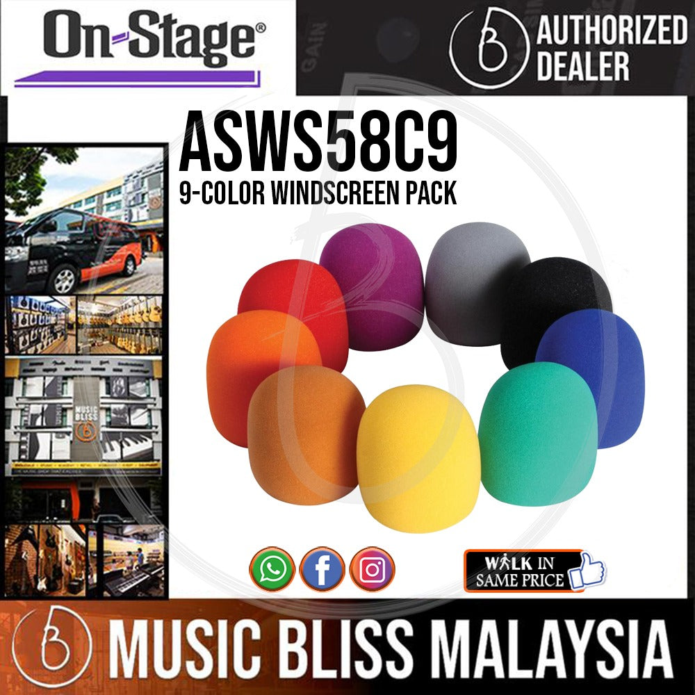 On-Stage ASWS58C 9 Multi-Color Microphone Windscreens (9-Pack) (OSS ASWS58C) - Music Bliss Malaysia
