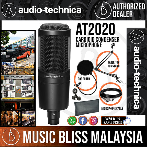 Audio Technica AT2020 Cardioid Condenser Microphone with Pop Filter, Mic Holder and 3m Cable (AT-2020) *Crazy Sales Promotion* - Music Bliss Malaysia