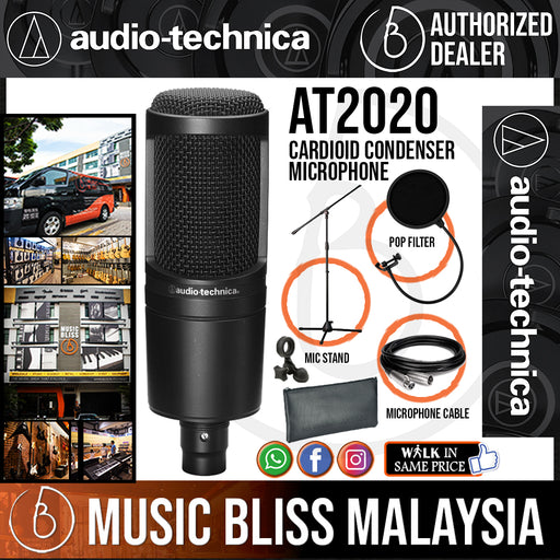 Audio Technica AT2020 Cardioid Condenser Microphone with Mic Stand, Pop Filter and 3m Cable (AT-2020) *Crazy Sales Promotion* - Music Bliss Malaysia