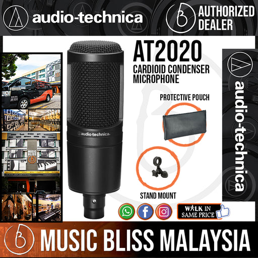 Audio Technica AT2020 Cardioid Condenser Microphone (Audio-Technica AT-2020 / AT 2020) *Crazy Sales Promotion* - Music Bliss Malaysia