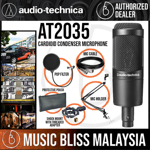 Audio Technica AT2035 Cardioid Condenser Microphone with Pop Filter, Mic Holder and 3m Cable (Audio-Technica AT-2035 / AT 2035) - Music Bliss Malaysia