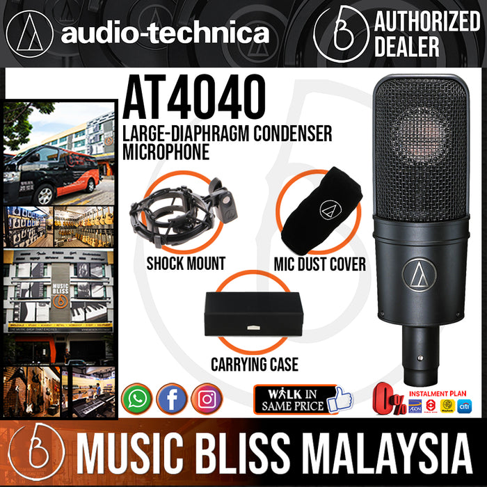 Audio Technica AT4040 Large-diaphragm Condenser Microphone (Audio-Technica AT-4040 / AT 4040) - Music Bliss Malaysia