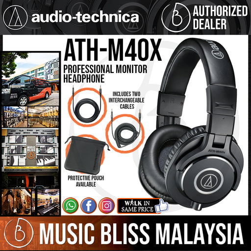 Audio Technica ATH-M40x Professional Monitor Headphone (Audio-Technica ATH M40x) *Crazy Sales Promotion* - Music Bliss Malaysia