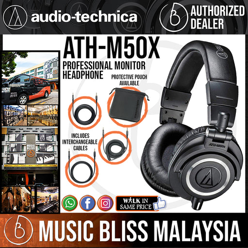 Audio Technica ATH-M50x Professional Monitor Headphone Black (Audio-Technica ATH M50x) *Crazy Sales Promotion* - Music Bliss Malaysia