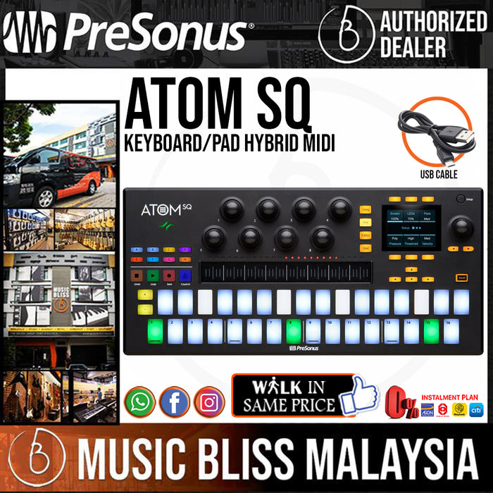 PreSonus ATOM SQ Keyboard/Pad Hybrid MIDI Keyboard/Pad Performance and Production Controller - Music Bliss Malaysia