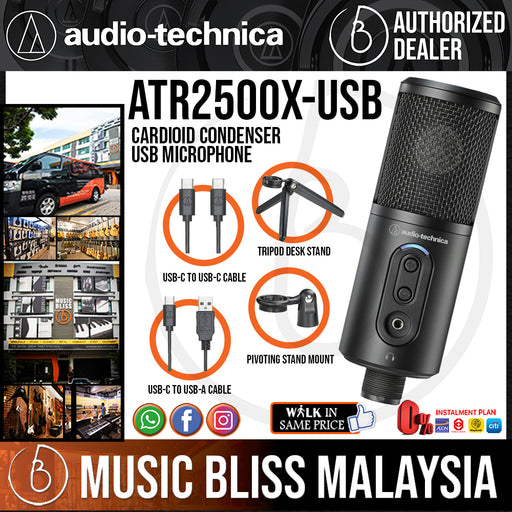 Audio Technica ATR2500x-USB Cardioid Condenser USB Microphone (Audio-Technica ATR2500x USB / ATR2500xUSB) *Crazy Sales Promotion* - Music Bliss Malaysia