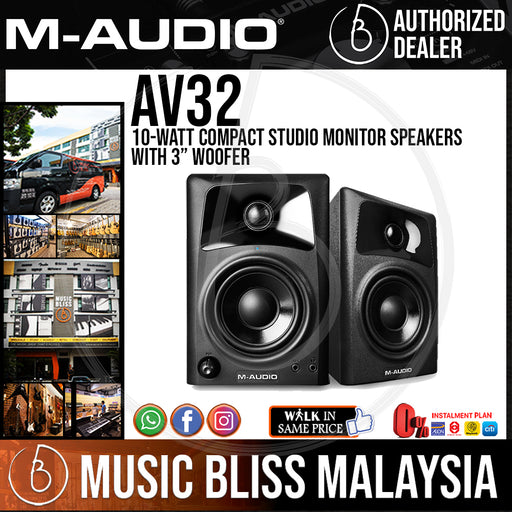 M-Audio AV32 | 10-Watt Compact Studio Monitor Speakers with 3-inch Woofer (Pair) - Music Bliss Malaysia