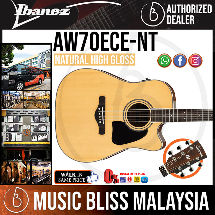 Ibanez AW70ECE Acoustic Guitar - Natural High Gloss (AW70ECE-NT) *Price Match Promotion* - Music Bliss Malaysia