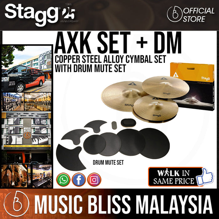Stagg AXK-SET Copper Steel Alloy Cymbal Set with Drum Mute Set - Music Bliss Malaysia