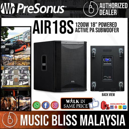 "PreSonus AIR18s 1200W 18"" Powered Subwoofer Active PA Subwoofer (AIR 18S / AIR-18S) - Music Bliss Malaysia"
