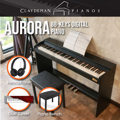 Claydeman Aurora MDP-45 88-Keys Home Digital Piano - Black (Slim Weighted) - Music Bliss Malaysia