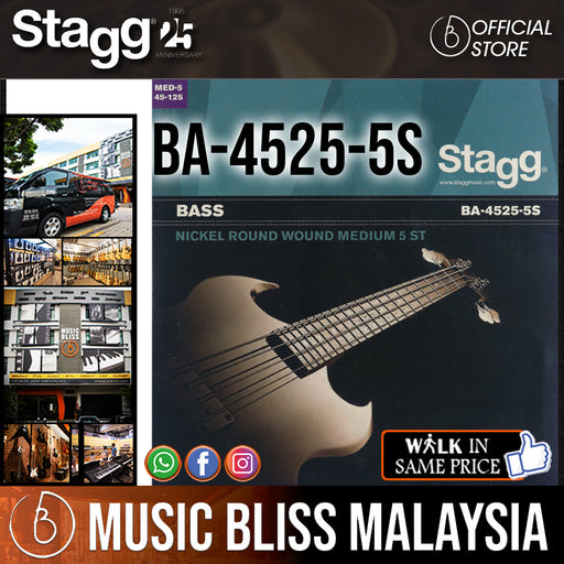 Stagg BA-4525-5S Nickel Round Wound Set of Strings for 5-string Electric Bass Guitar (BA45255S) - Music Bliss Malaysia