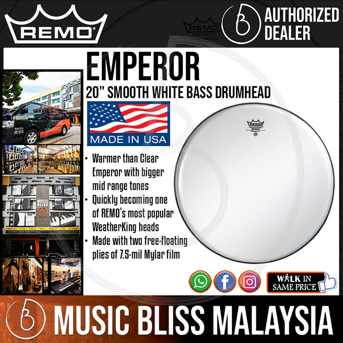 "Remo Emperor Smooth White Bass Drumhead - 20"" (BB-1220-00 BB122000 BB 1220 00) - Music Bliss Malaysia"