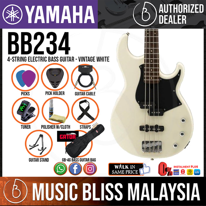 Yamaha BB234 4-string Electric Bass Guitar with Gator Gig Bag - Vintage White (BB-234/BB 234) - Music Bliss Malaysia