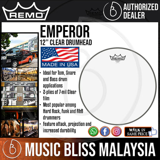 "Remo Emperor Clear Drumhead - 12"" (BE-0312-00 BE031200 BE 0312 00) - Music Bliss Malaysia"