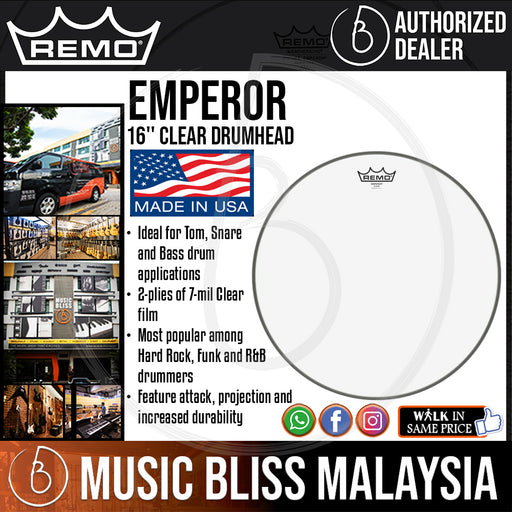 "Remo Emperor Clear Drumhead - 16"" (BE-0316-00 BE031600 BE 0316 00) - Music Bliss Malaysia"