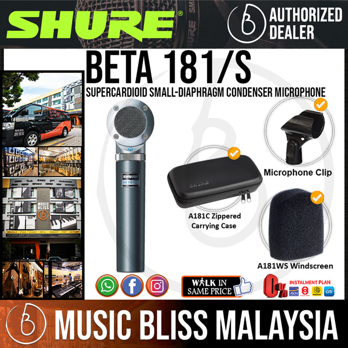 Shure Beta 181/S Supercardioid Small-diaphragm Condenser Microphone (BETA181S / BETA 181S) - Music Bliss Malaysia