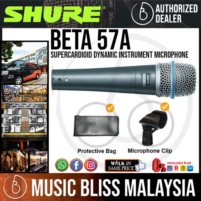Shure BETA 57A Supercardioid Dynamic Instrument Microphone (BETA-57A / BETA57A) *Price Match Promotion* - Music Bliss Malaysia