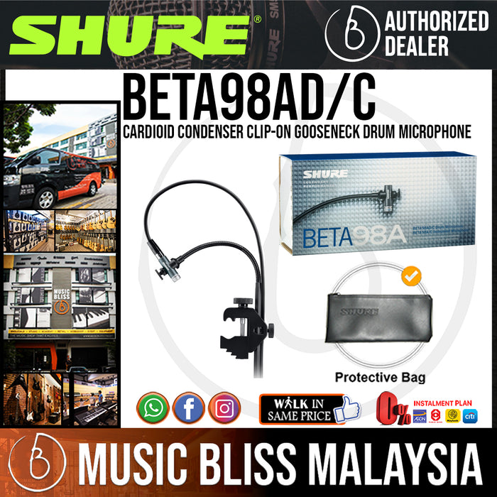 Shure Beta 98AD/C Cardioid Condenser Clip-on Gooseneck Drum Microphone (BETA98ADC / BETA-98ADC) - Music Bliss Malaysia