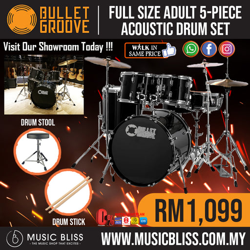 Bullet Groove Full Size Adult 5-Piece Acoustic Drum Set with Cymbals Stands,Stool and Drumsticks (Black) *Crazy Sales Promotion* - Music Bliss Malaysia