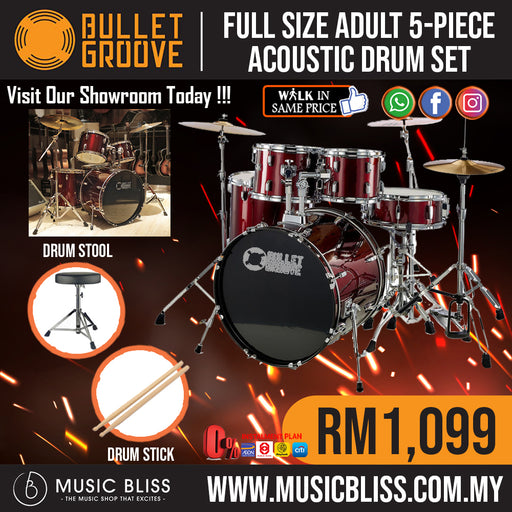 Bullet Groove Full Size Adult 5-Piece Acoustic Drum Set with Cymbals Stands,Stool and Drumsticks (Wine Red) *Crazy Sales Promotion* - Music Bliss Malaysia