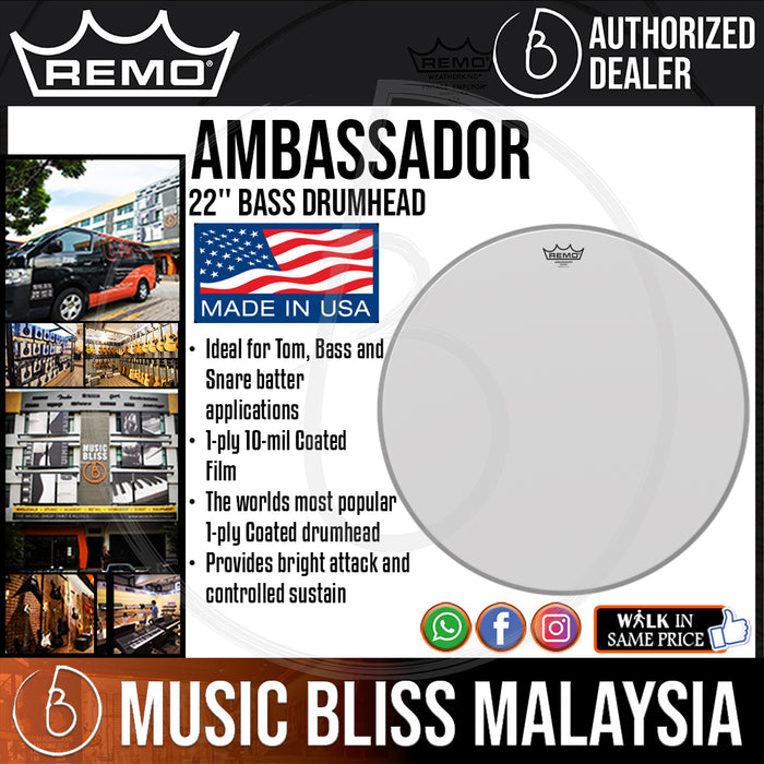 "Remo Ambassador Bass Drumhead - 22"" - Coated (BR-1122-00 BR112200 BR 1122 00) - Music Bliss Malaysia"
