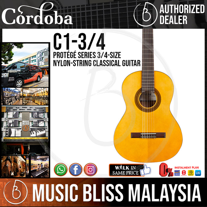 Cordoba Protege C1 3/4-size Nylon-string Acoustic Guitar with Spruce Top - Music Bliss Malaysia