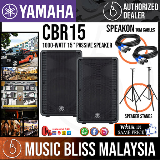 Yamaha CBR15 15-Inch 2-Way Passive Loudspeaker with Stand - Pair (CBR-15) * Crazy Sales Promotion * - Music Bliss Malaysia