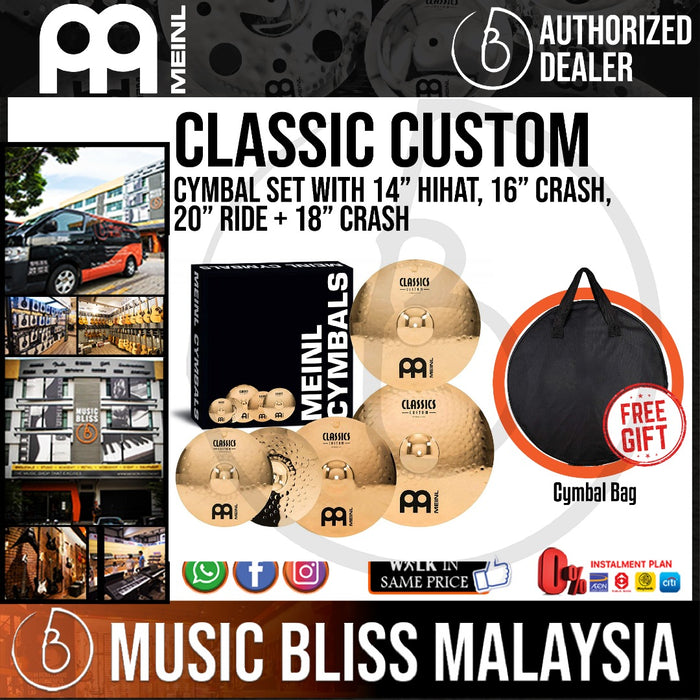 "Meinl CC-141620+18 Classics Custom Bonus Pack Cymbal Box Set with 18"" Crash Free Cymbal Bag"