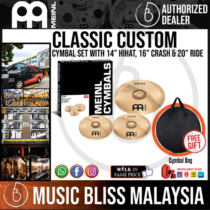 Meinl CC141620 Classics Custom Complete Cymbal Set with Free Cymbal Bag - Music Bliss Malaysia