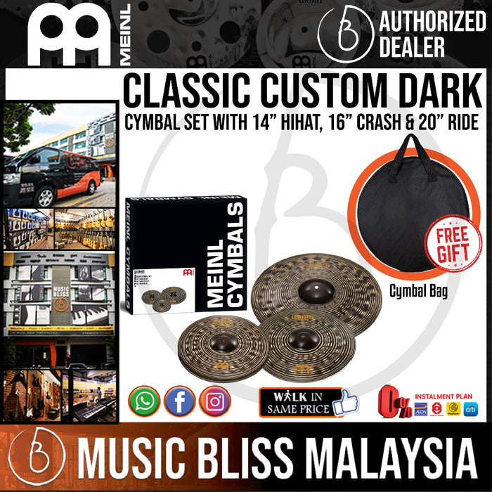 "Meinl CCD141620 Classics Custom Dark Cymbal Box Set with 14"" Hihat, 16"" Crash, 20"" Ride with Free Cymbal Bag - Music Bliss Malaysia"