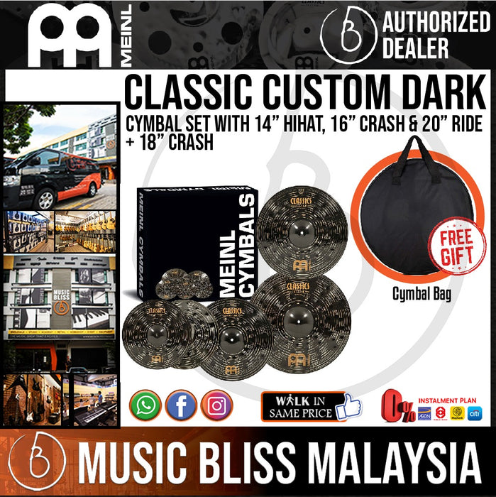 Meinl CCD460 Classics Custom Dark Cymbal Box Set with Free Cymbal Bag - Music Bliss Malaysia