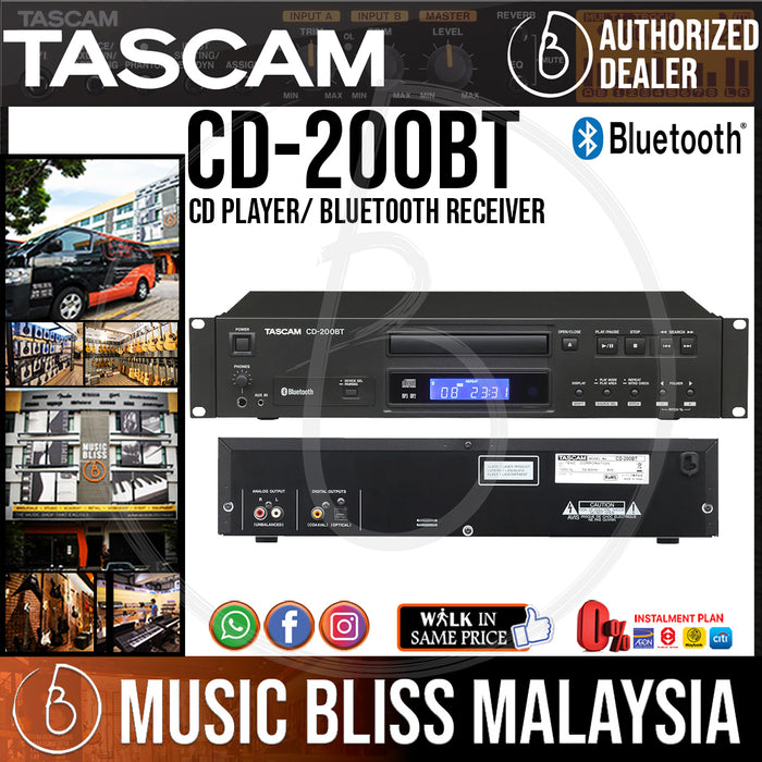TASCAM CD-200BT CD Player/ Bluetooth Receiver (CD200BT) - Music Bliss Malaysia