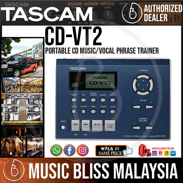 TASCAM CD-VT2 Portable CD Music/Vocal Phrase Trainer (CDVT2) - Music Bliss Malaysia