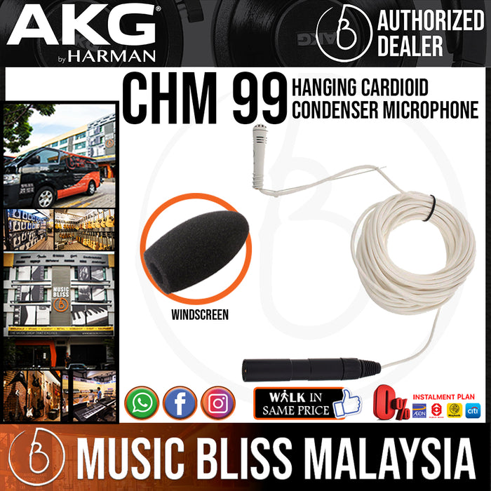 AKG CHM 99 Condenser Hanging Microphone - White (CHM99) *Everyday Low Prices Promotion* - Music Bliss Malaysia