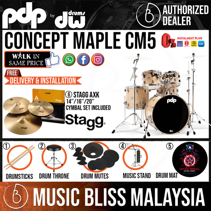PDP by DW CM5 Concept Maple Shell Pack - 5-piece with STAGG Cymbal Set - Music Bliss Malaysia