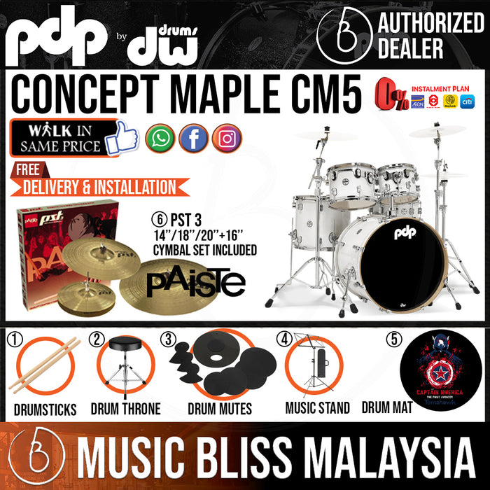 PDP by DW CM5 Concept Maple Shell Pack - 5-piece with PAISTE PST 3 Cymbal Set - Music Bliss Malaysia
